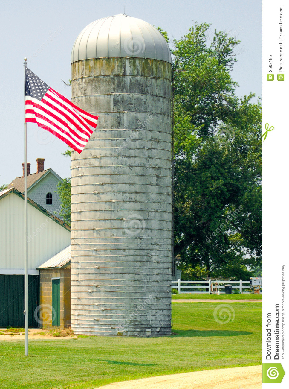 Us Flag Near Farm Silo Royalty Free Stock Photo Image