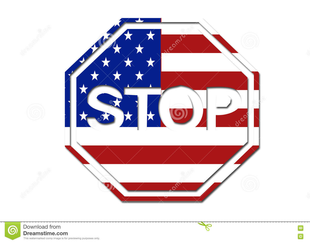 Us Flag Stop Sign Symbol Stock Illustration Illustration Of Shape