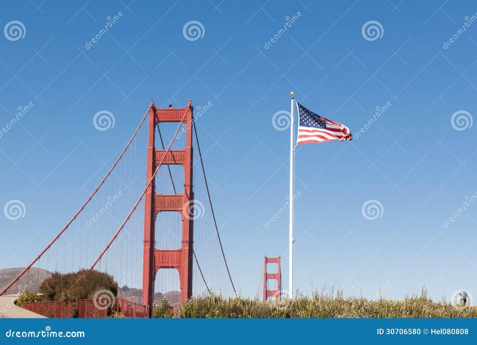 Golden Gate Bridge, US Flag