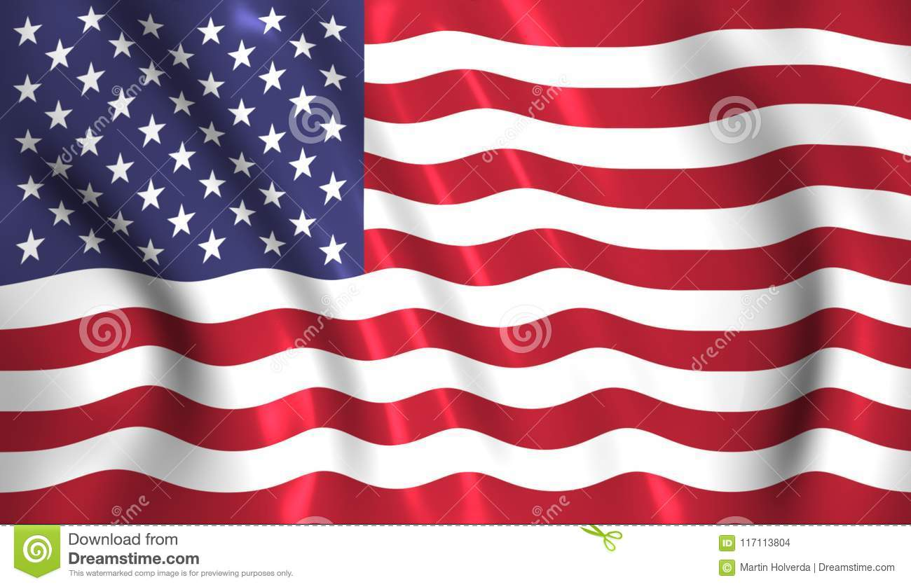 f59128172bc2 US Flag Waving In The Wind American USA Stock Illustration ...