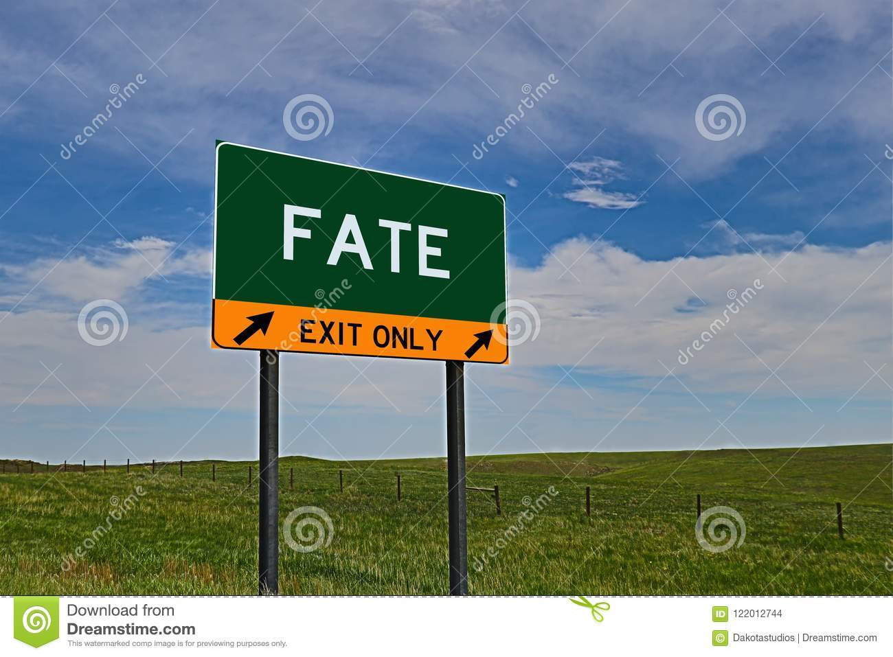 US Highway Exit Sign for Fate