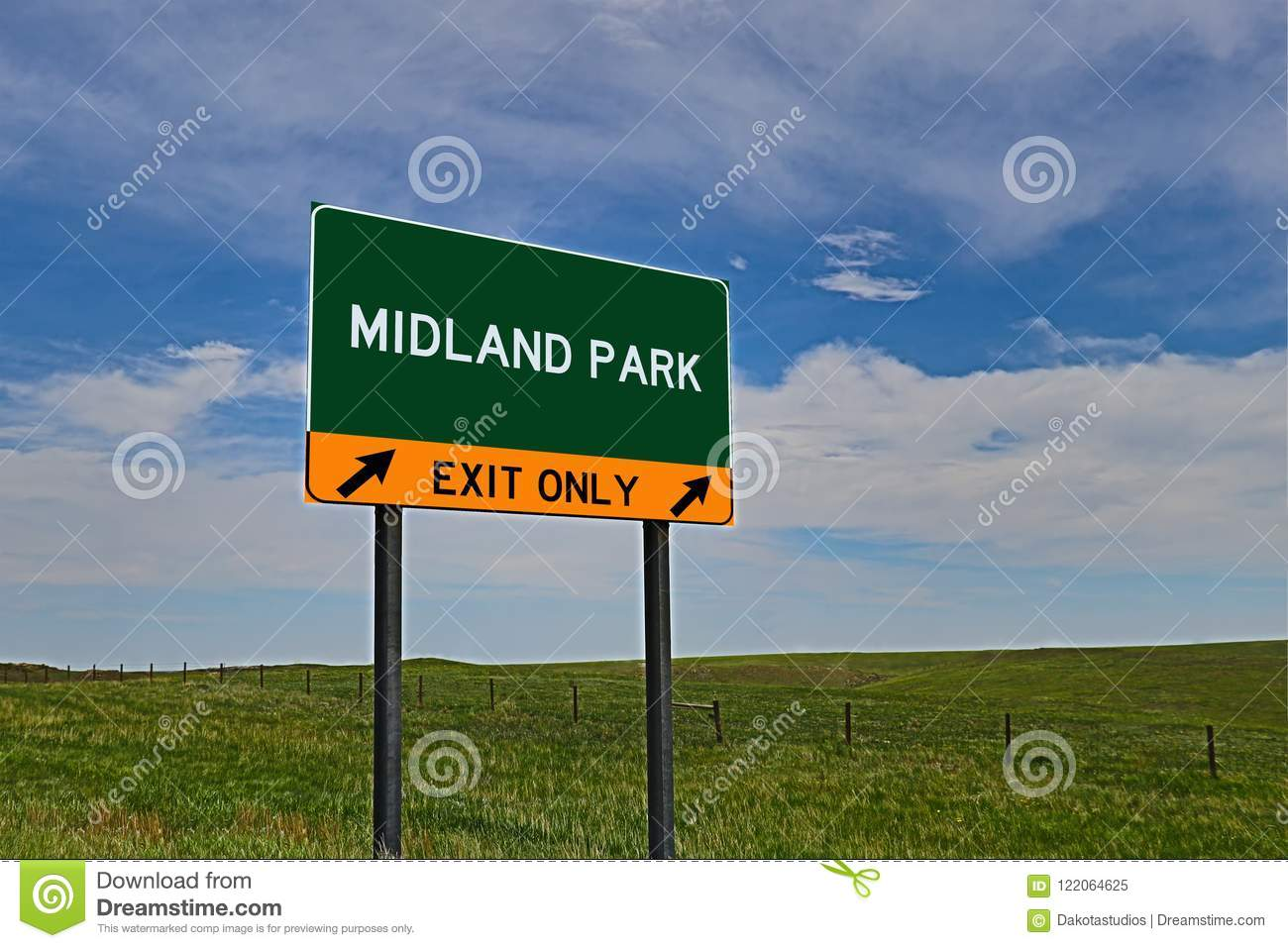 US Highway Exit Sign for Midland Park