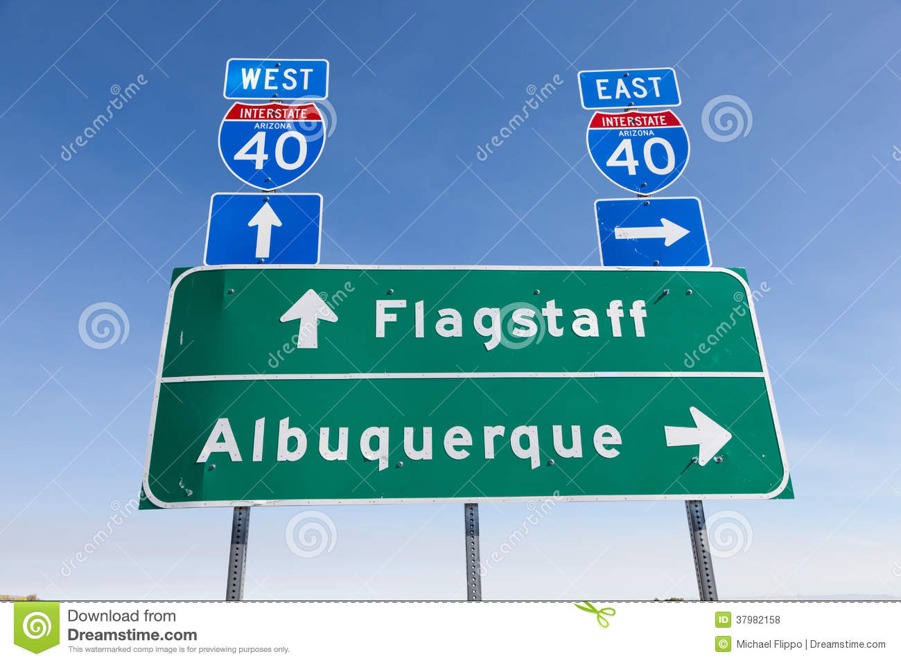 Map Of Arizona I40.Us Interstate I 40 Road Sign In Arizona Stock Photo Image Of