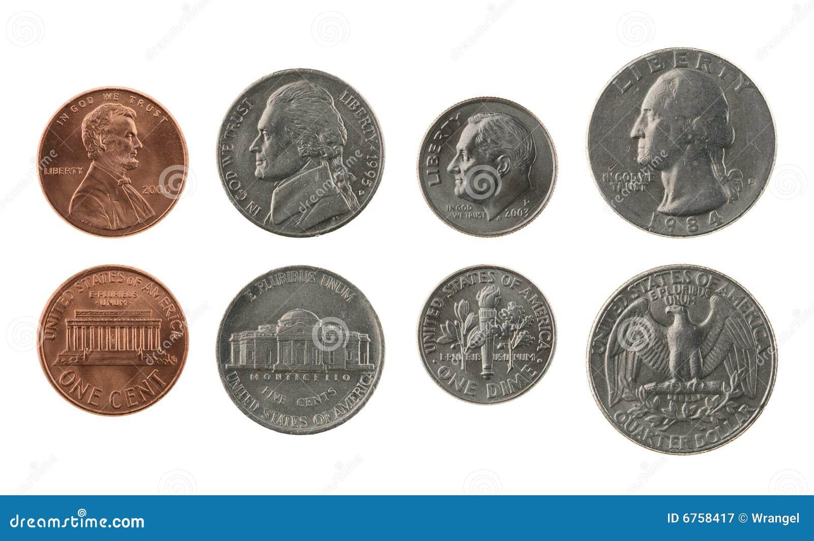 US-Münzsammlung getrennt auf Weiß