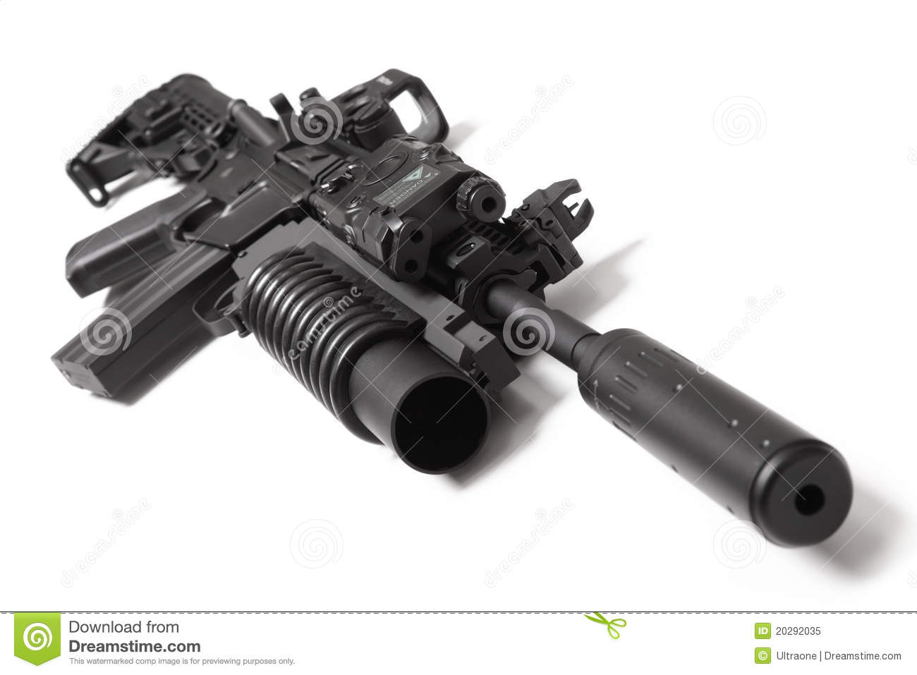 US M4A1 Assault Carbine With Grenade Launcher Stock Image - Image of