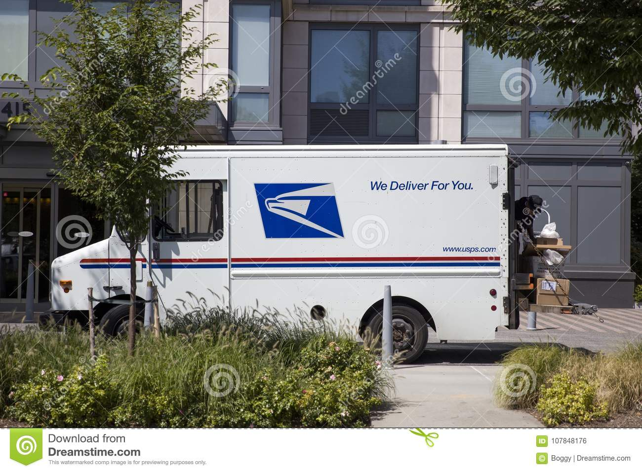 US mail delivery truck editorial photo  Image of postage