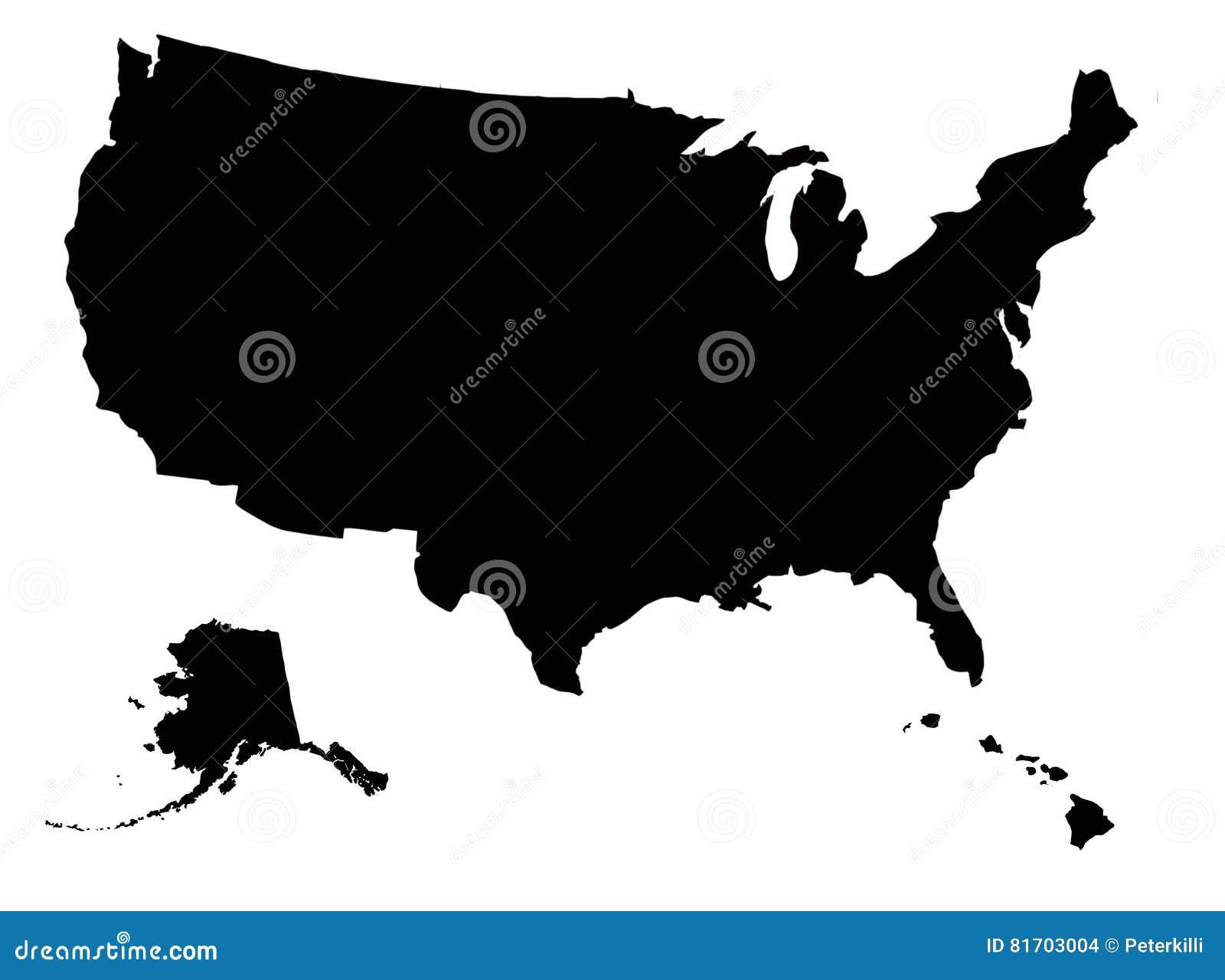 US Map Black In White Background Stock Illustration - Illustration ...