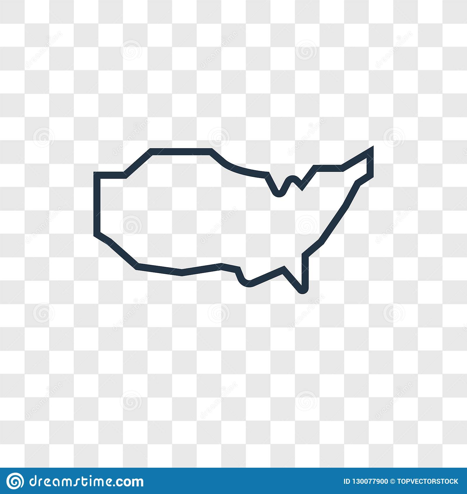 Us Map Concept Vector Linear Icon Isolated On Transparent - Us-map-transparent-background
