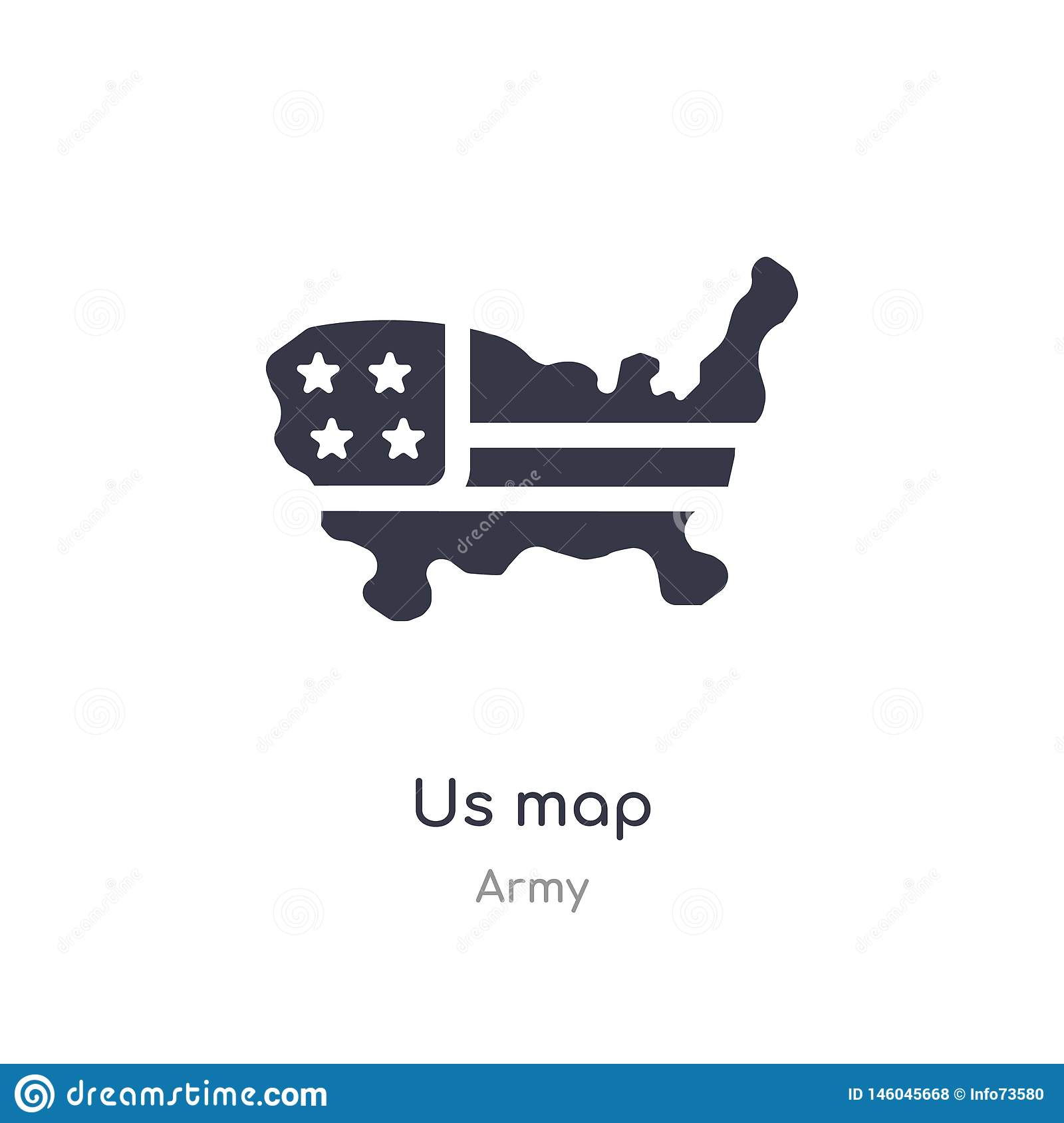 us map icon. isolated us map icon vector illustration from army collection. editable sing symbol can be use for web site and