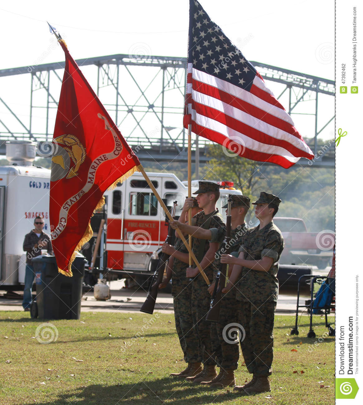 us marine corps color guard with flags editorial photography