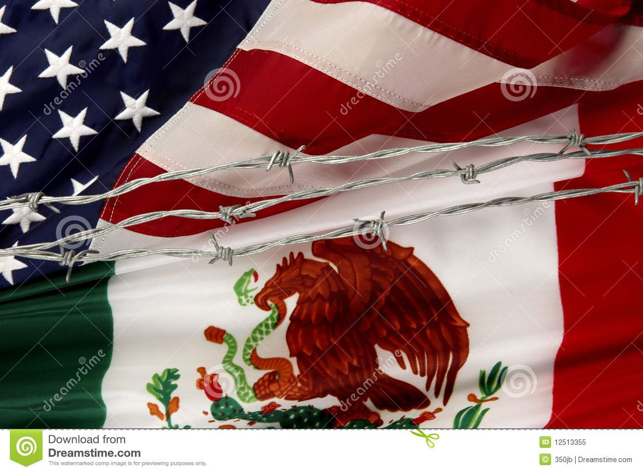 us and mexican flags separated by barbed wire royalty free stock