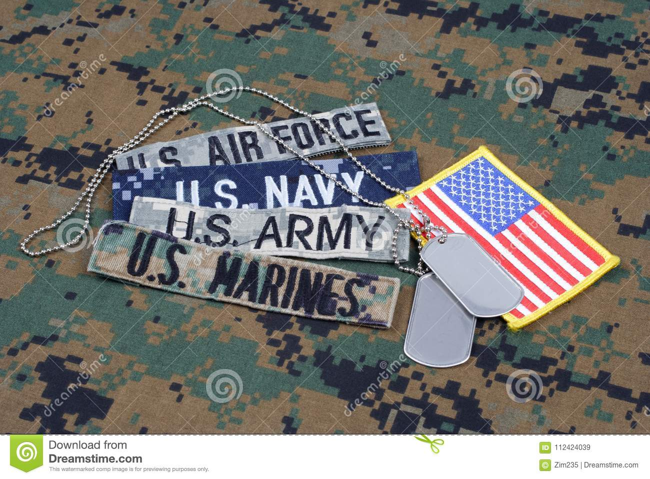 US MILITARY concept with branch tapes and dog tags on camouflage uniform