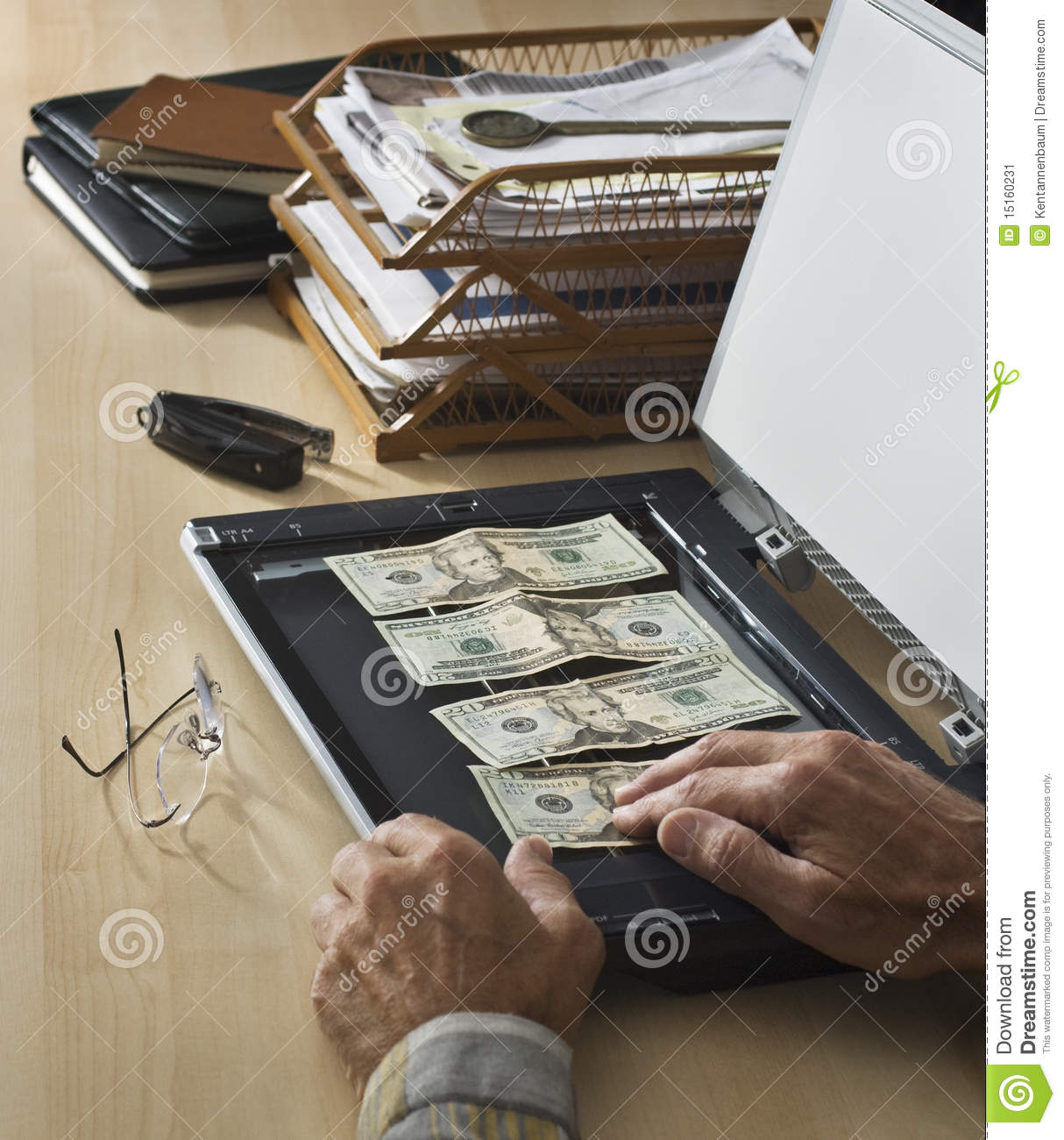 US money on home scanner stock image  Image of desperation
