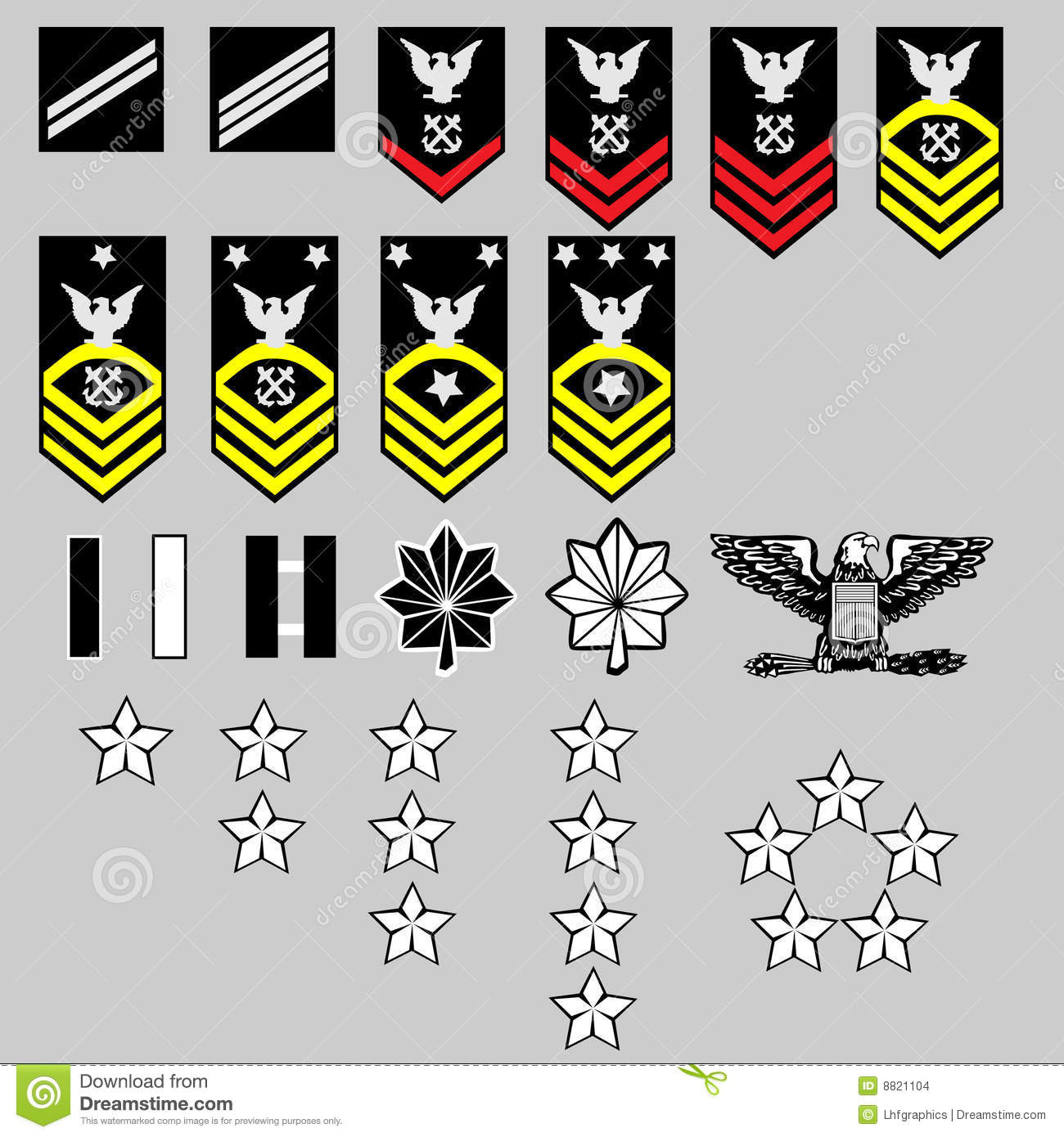 Vector set of US Navy officer and enlisted rank insignia, stars, bars ...