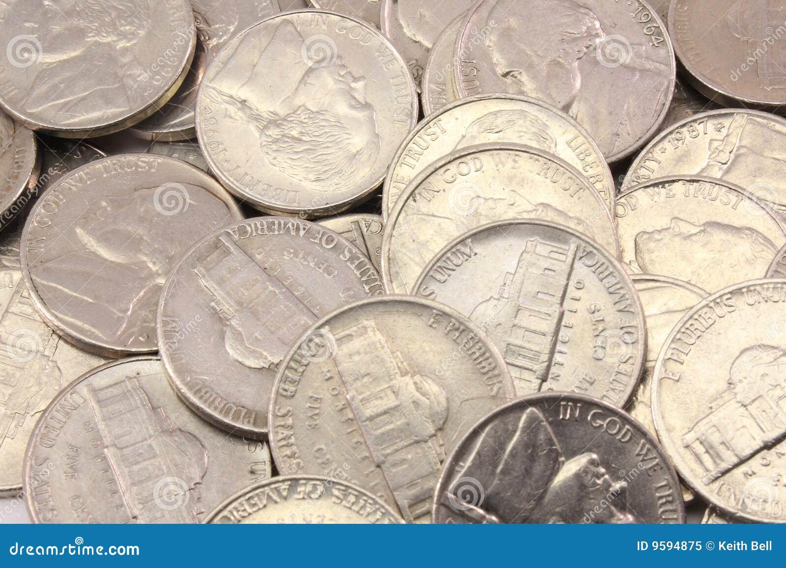 Us Nickels Background Royalty Free Stock Photo Image