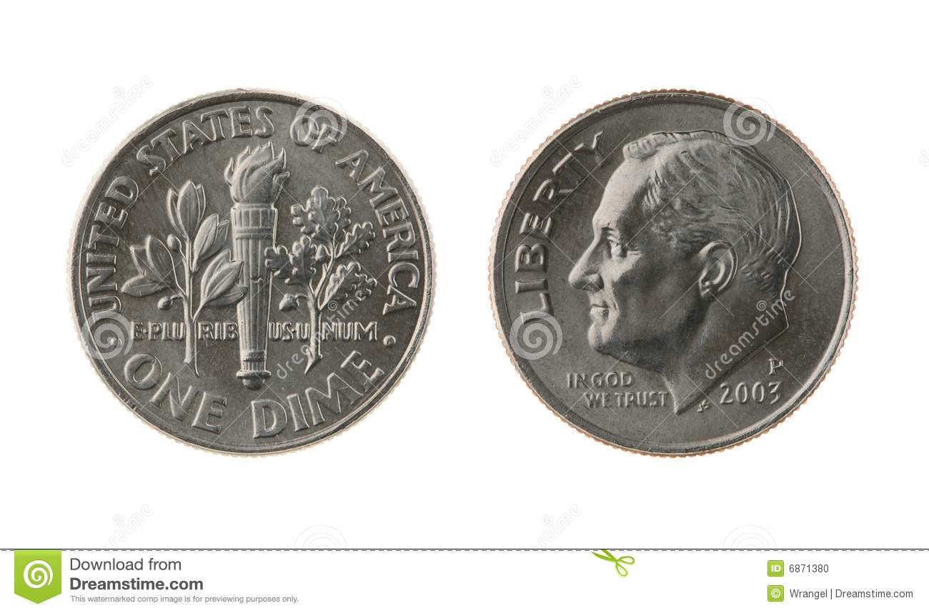 us one dime coin isolated on white stock photo image