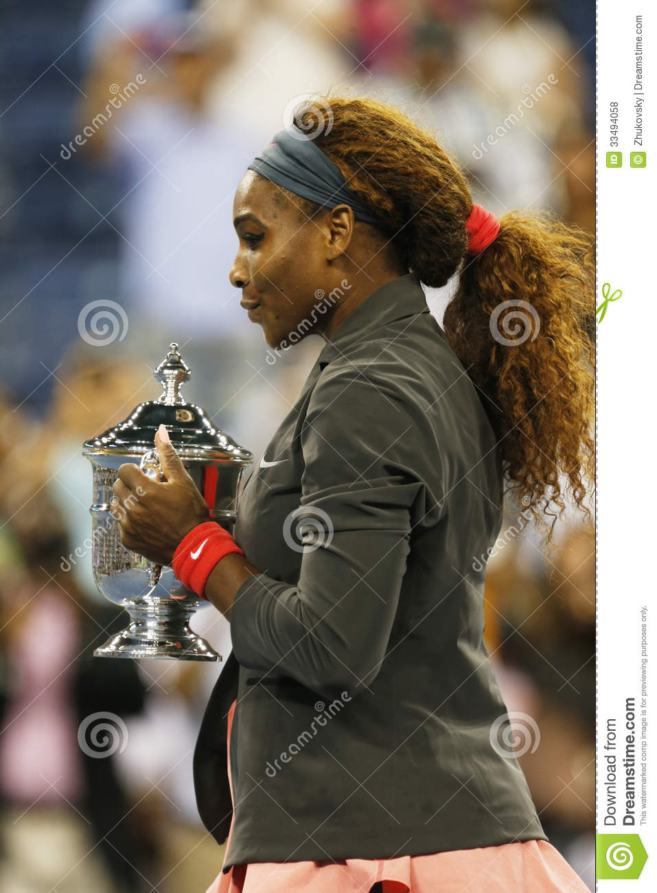 US Open 2013 champion Serena Williams holding US Open trophy after her