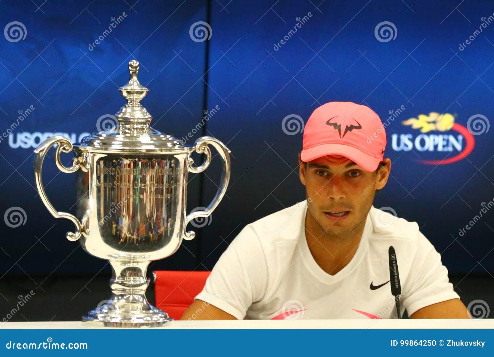 US Open 2017 kampioen Rafael Nadal van Spanje tijdens persconferentie na zijn definitieve gelijkeoverwinning tegen Kevin Andersen
