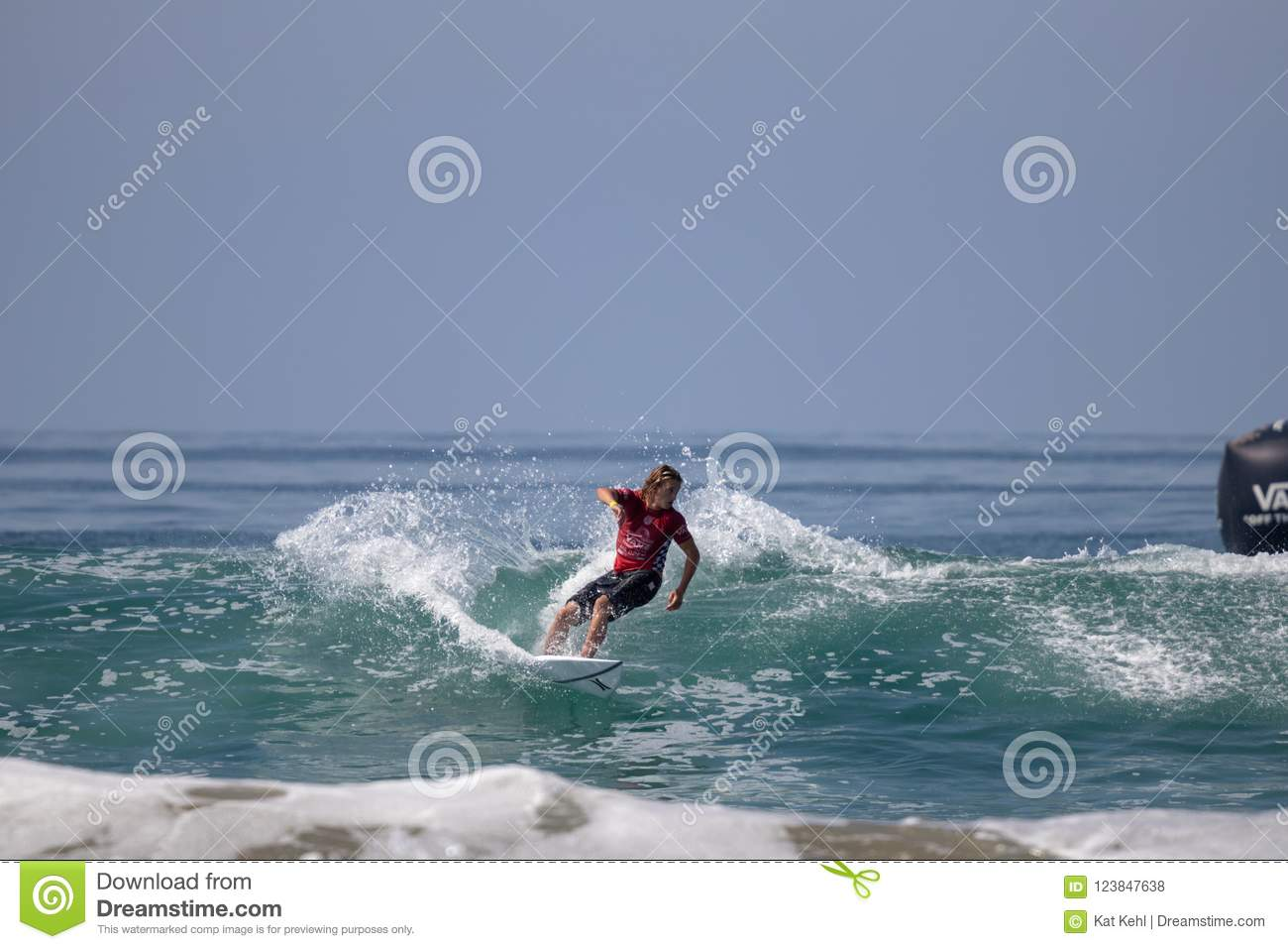 833ff3faa7 Jake Marshall surfing in the Vans US Open of Surfing 2018 in Huntington  Beach California