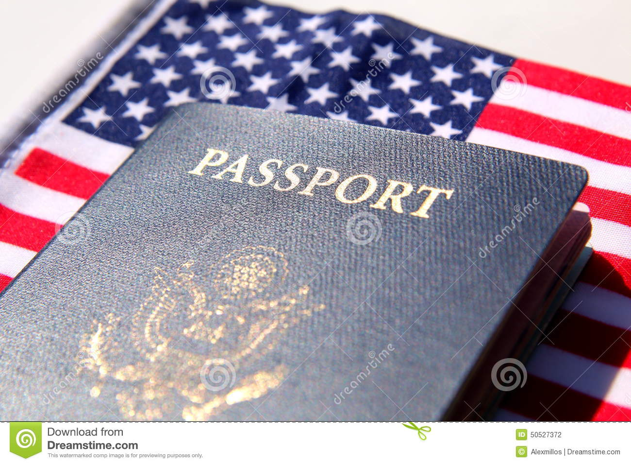 US passport over a red, white and blue flag
