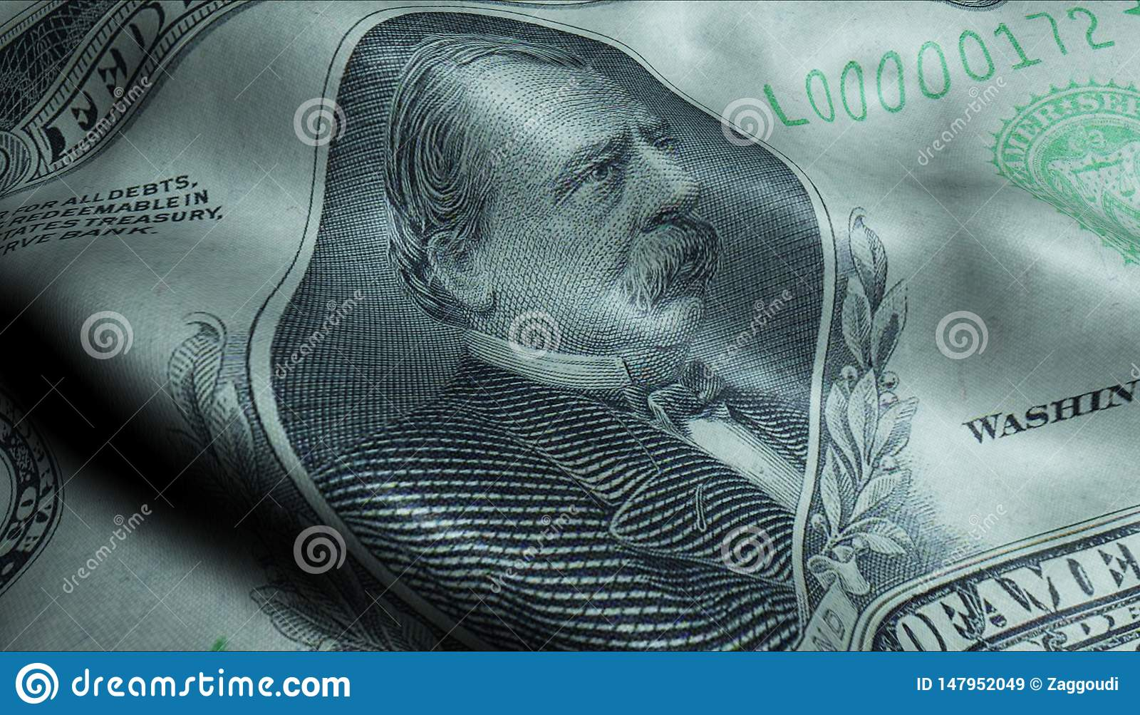 Us President Grover Cleveland Crumpled One Thousand Dollar