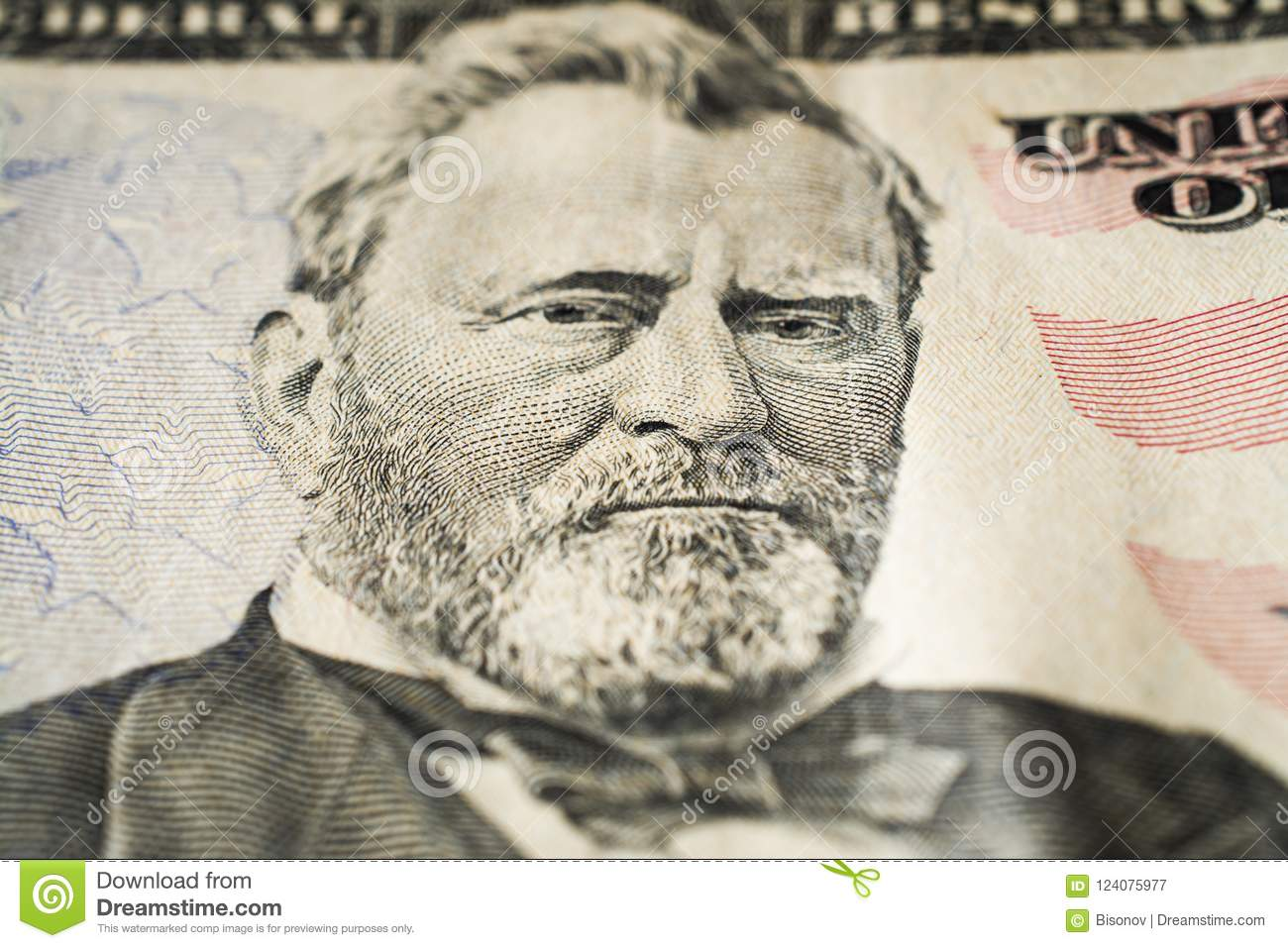 US president Ulysses Grant portrait on fifty dollar bill extreme macro, 50 usd