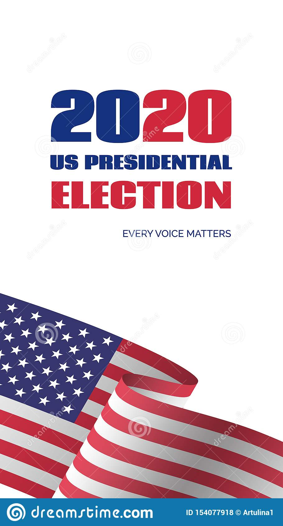 2020 Us Presidential Election Banner Vector Vertical Template For Vote Stock Vector Illustration Of Flag Elections 154077918