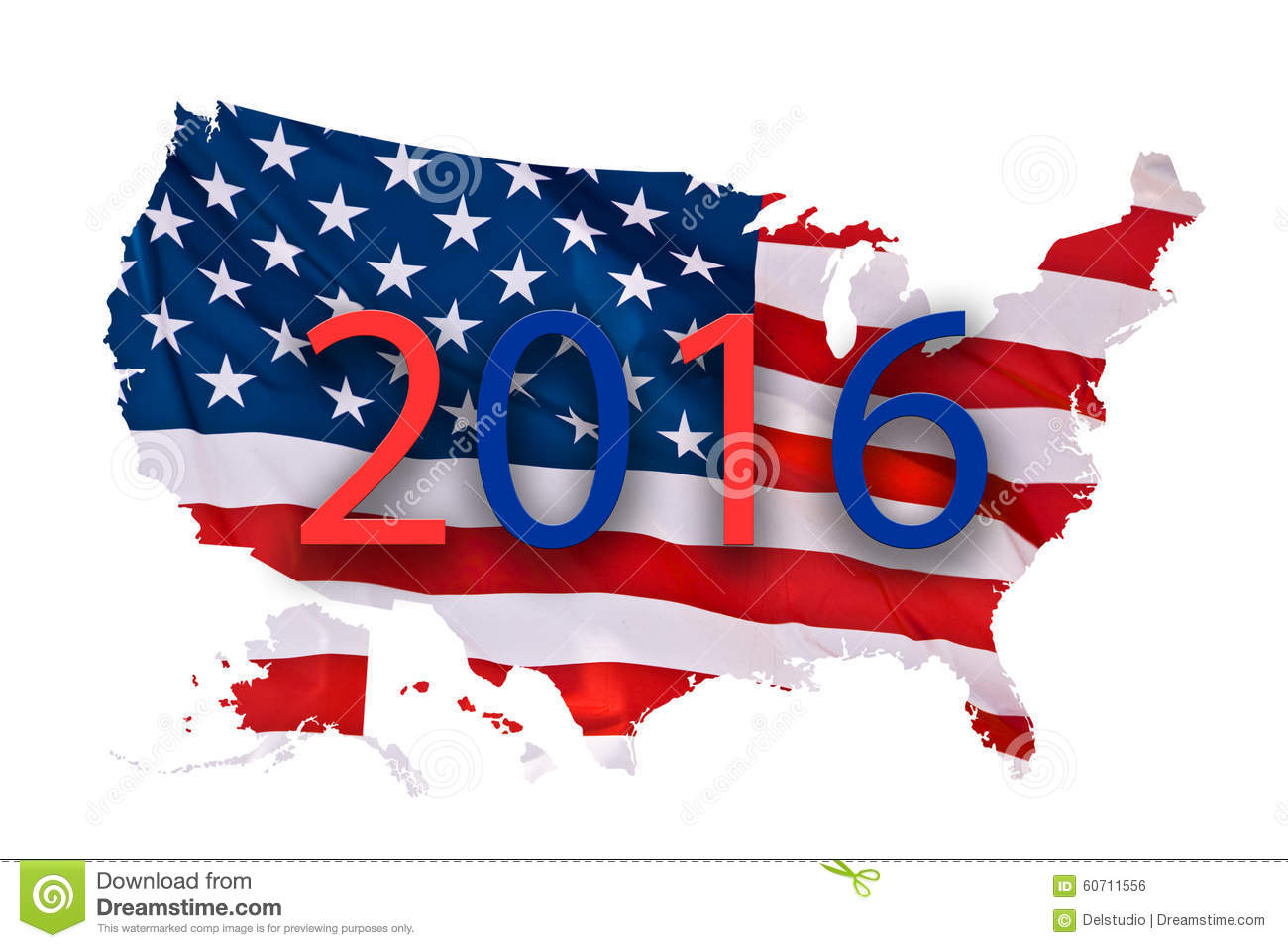2016 US presidential elections map concept isolated on white