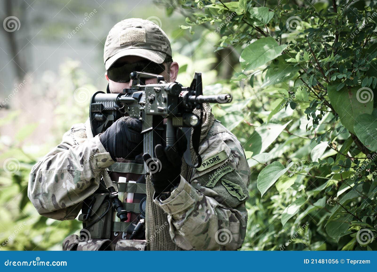 US soldier on battle field