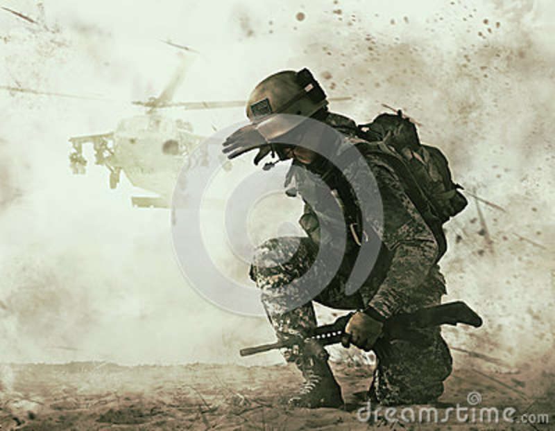 US soldier and combat helicopter approaching