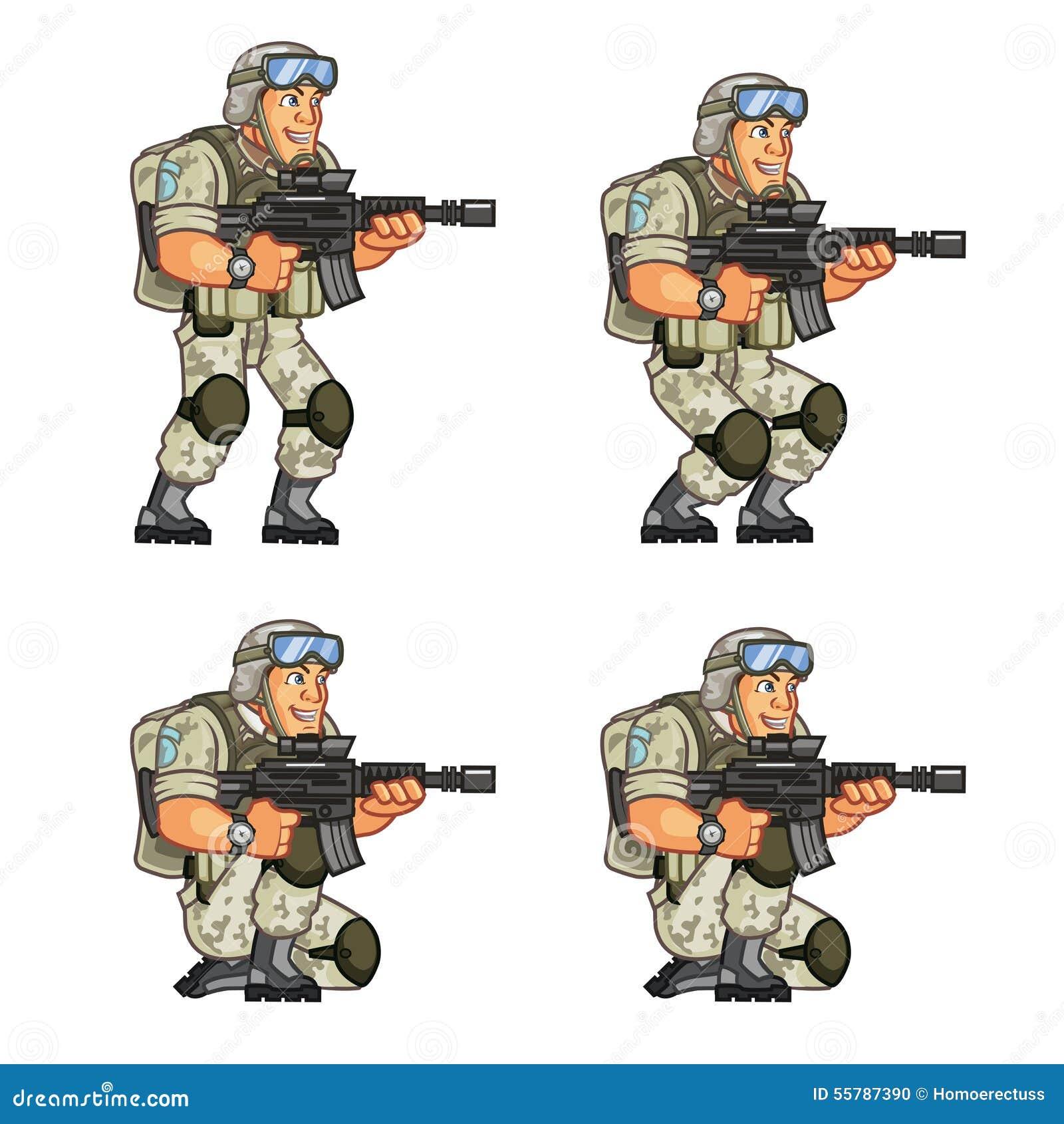 us soldier crouching sprite vector illustration