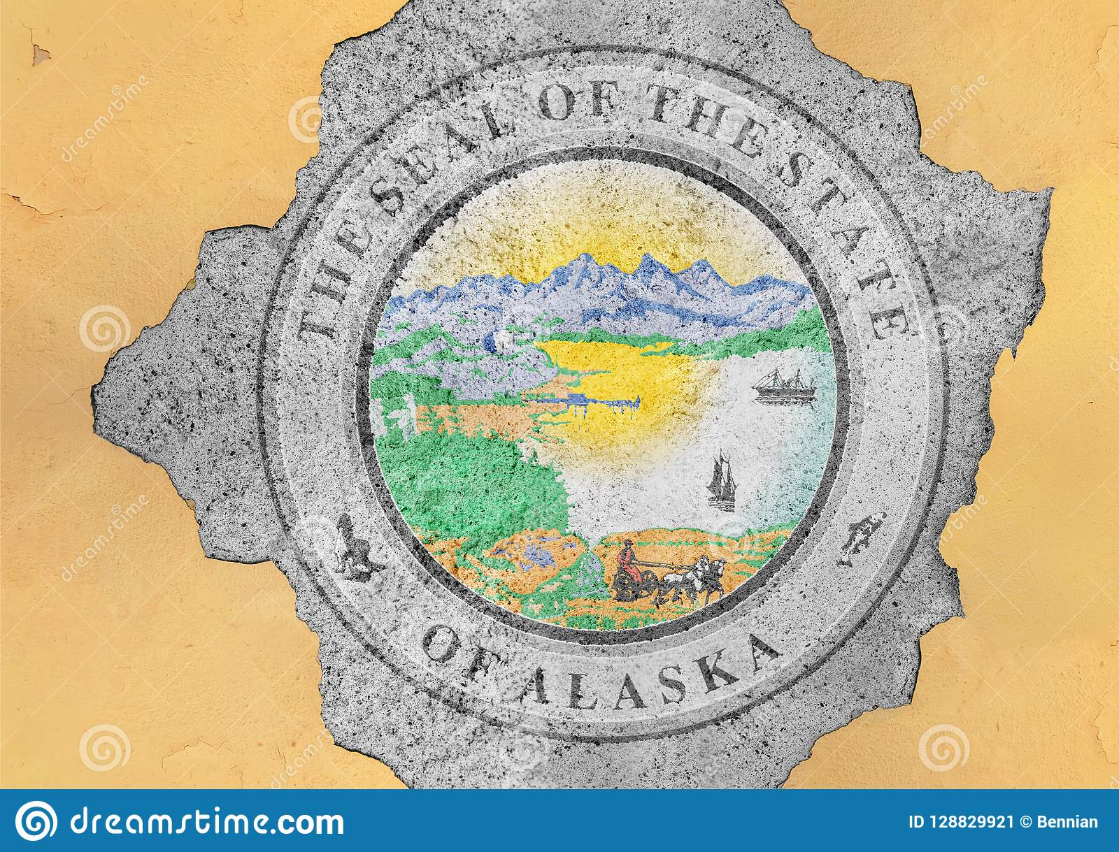 US state Alaska seal flag painted on concrete hole and cracked wall