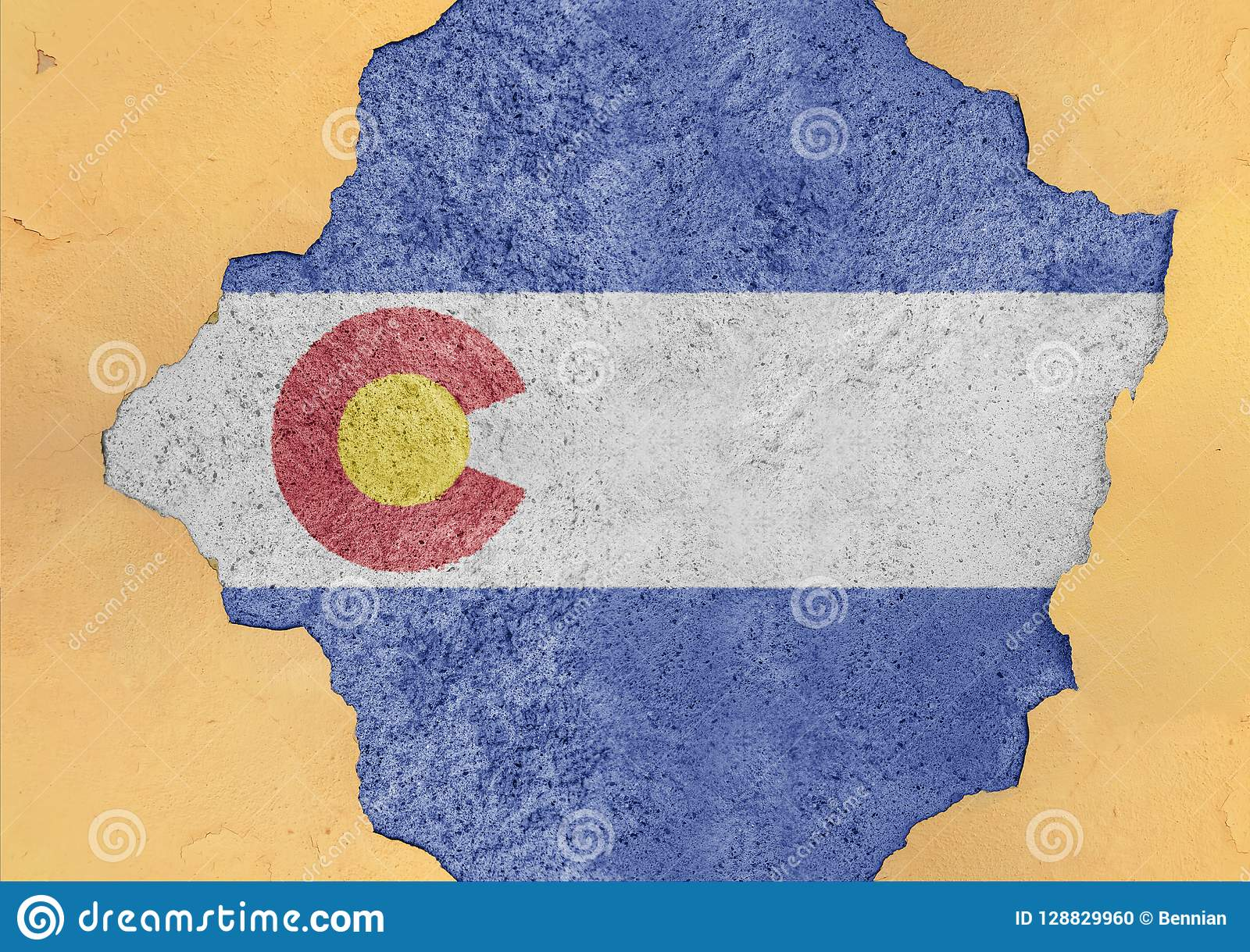 US state Colorado flag painted on concrete hole and cracked wall