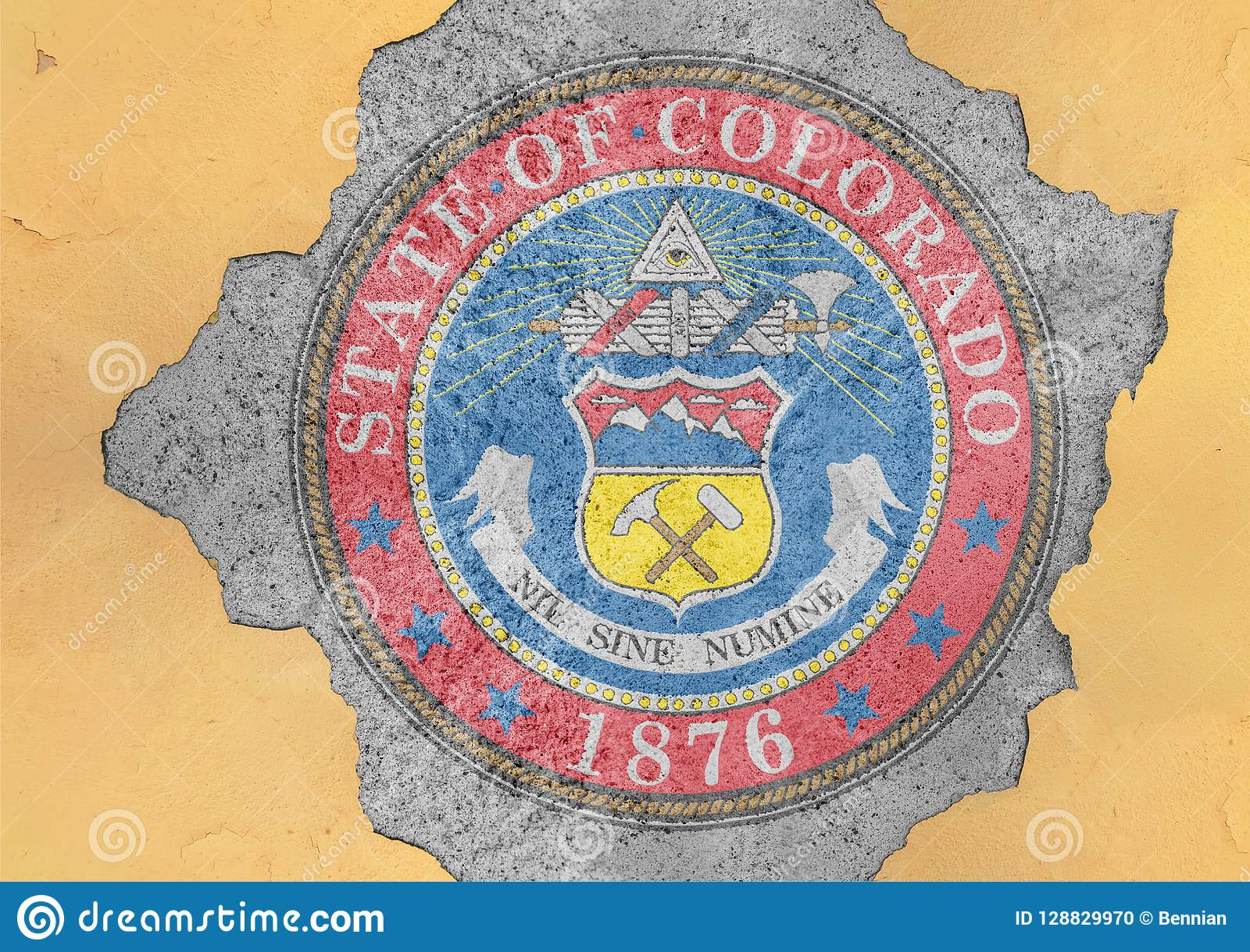 US state Colorado seal flag painted on concrete hole and cracked wall