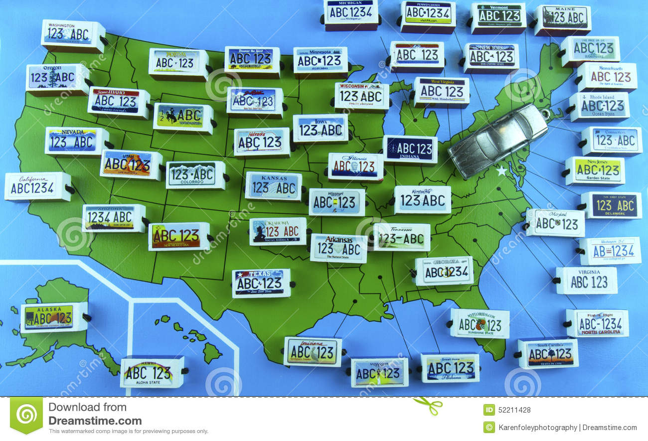 US State License Plates On Map With Sedan Editorial Stock Photo - Us liscense plate map