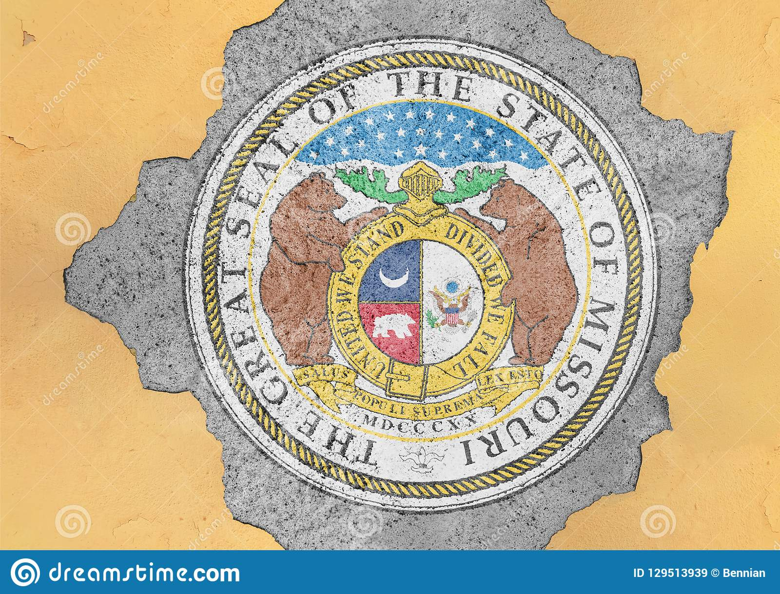 US state Missouri seal flag painted on concrete hole and cracked wall