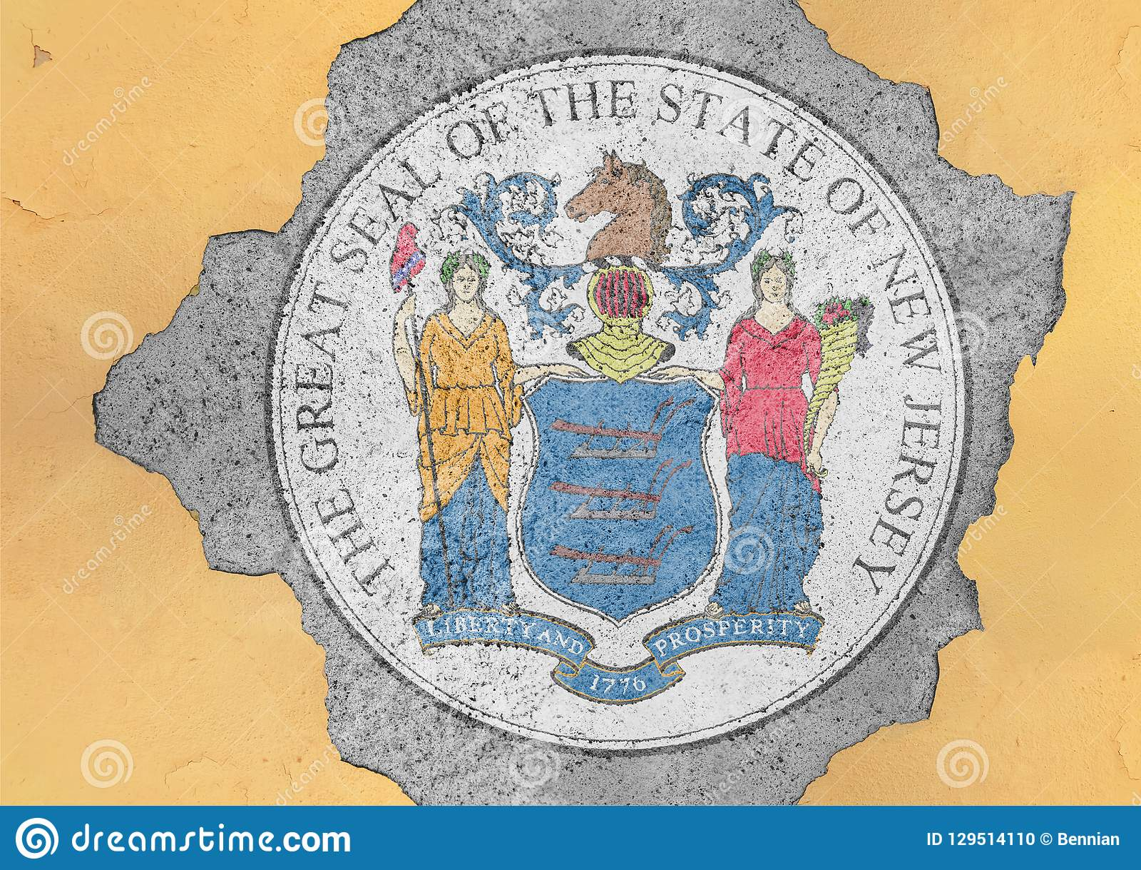 US state New Jersey flag seal in big concrete cracked hole