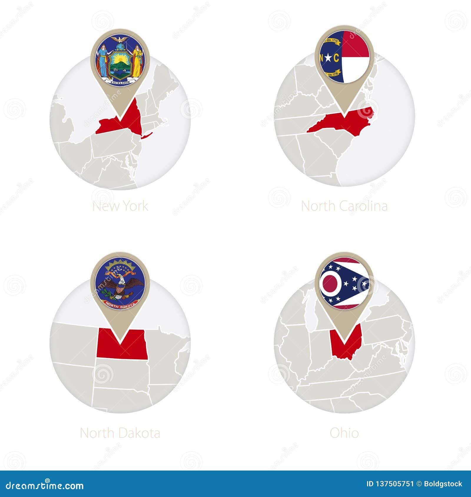 Map Of New York And Ohio.Us States New York North Carolina North Dakota Ohio Map And Flag