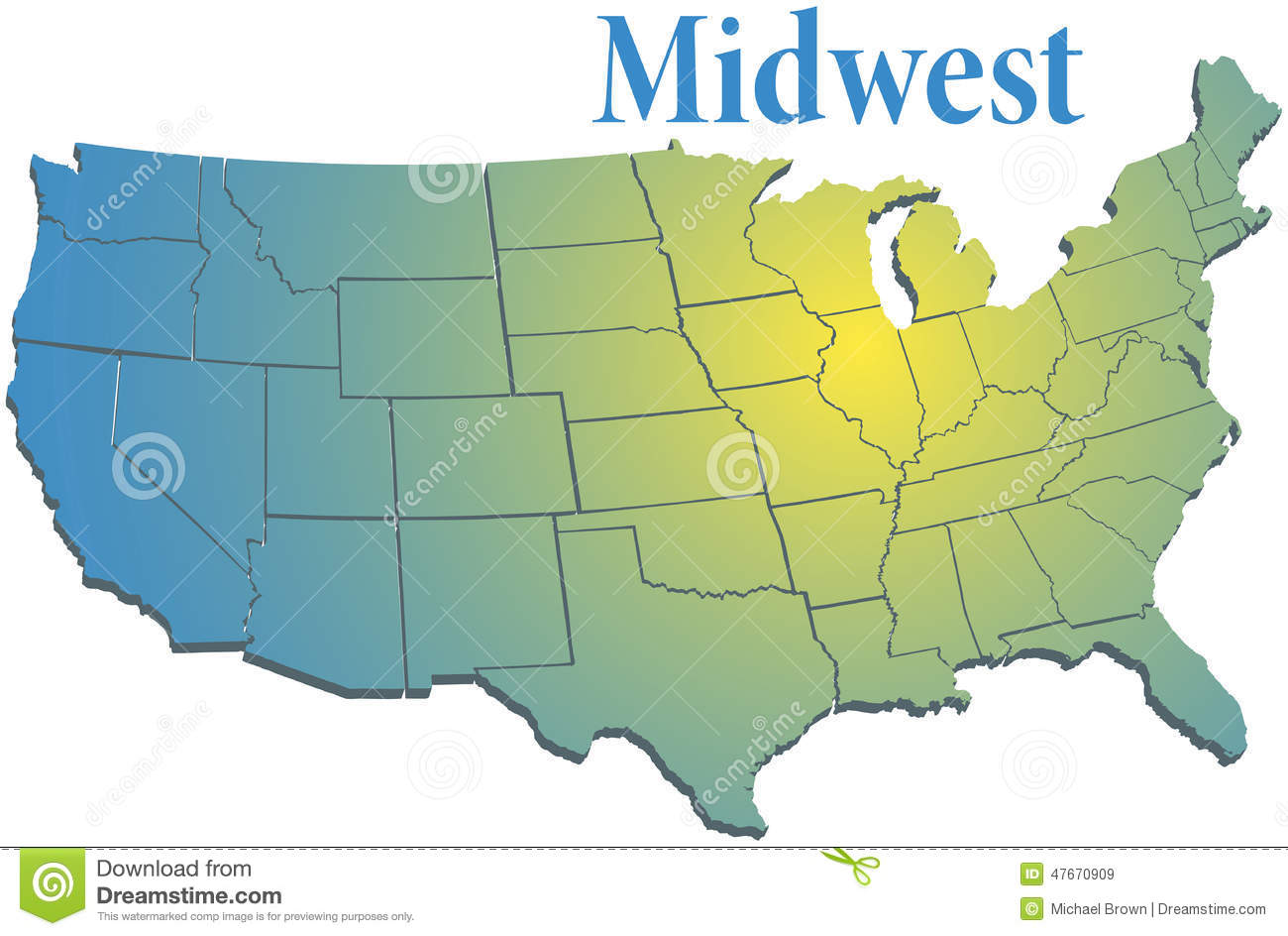 US States Regional MidWest Map Stock Vector Image - Us map midwest region