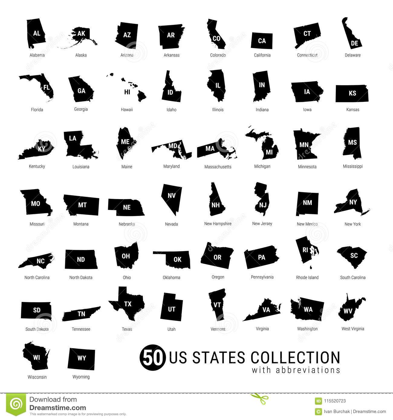 50 US States Vector Collection. High-Detailed Black ...