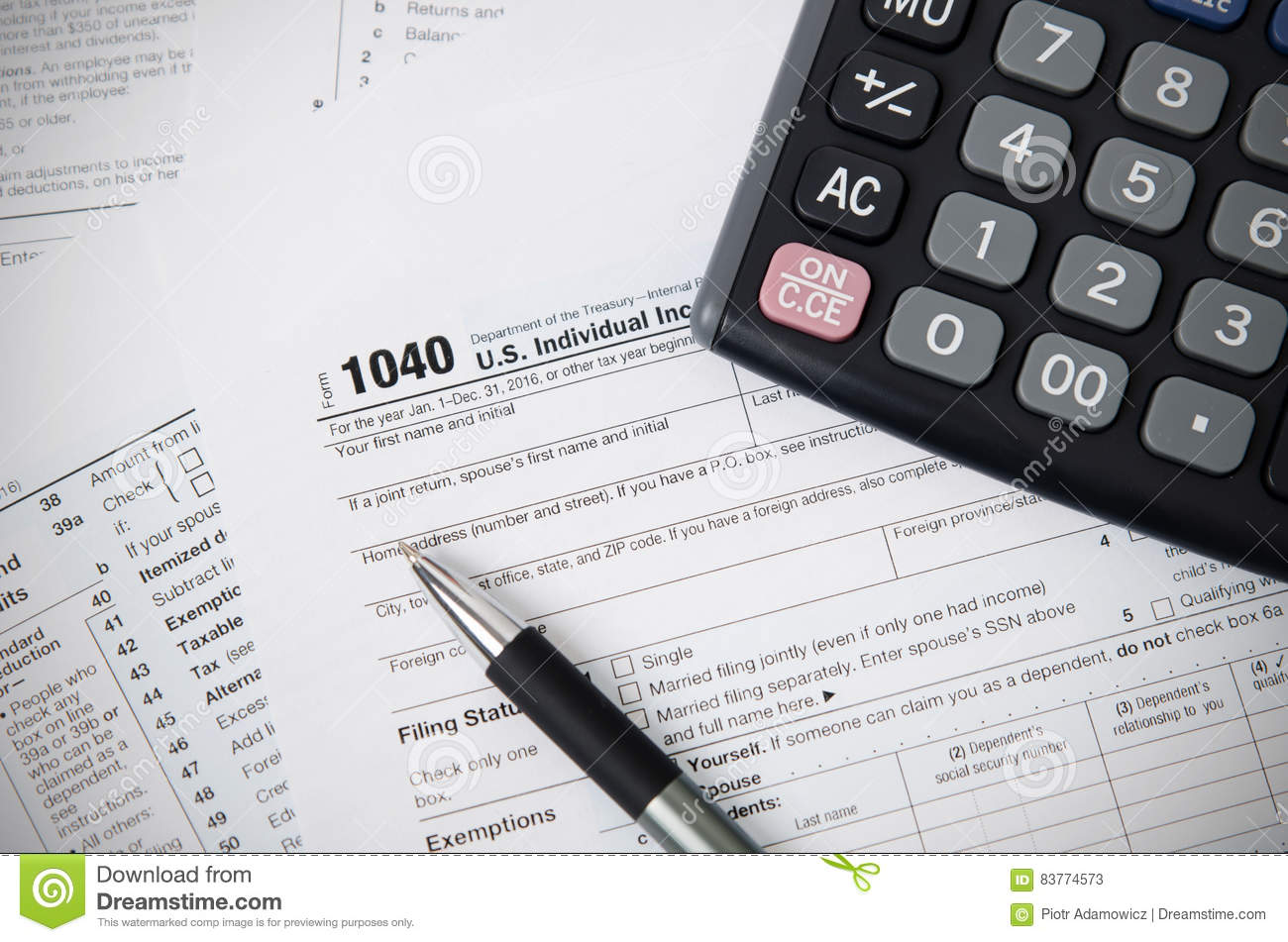 US Tax Form 1040 With Pen And Calculator Editorial Stock