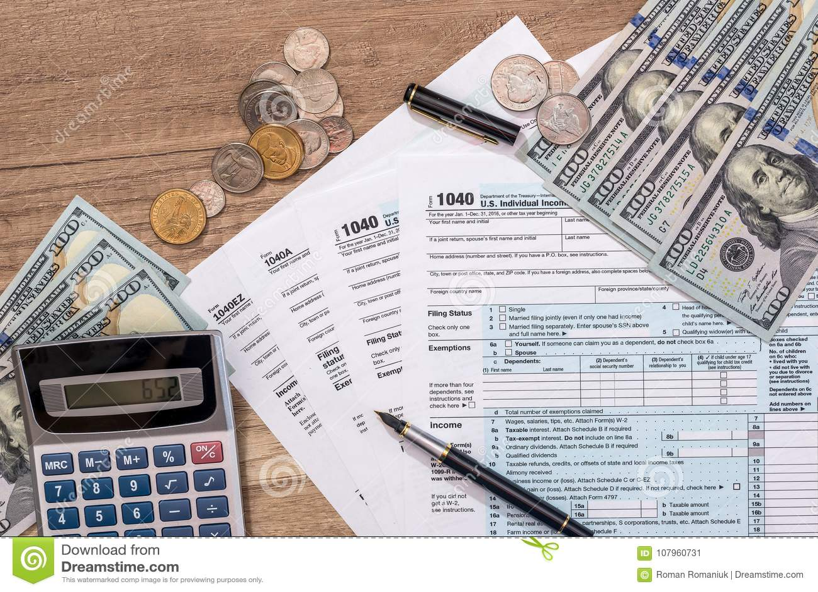 Still life of us money and calculator stock photo: 4406739 alamy.