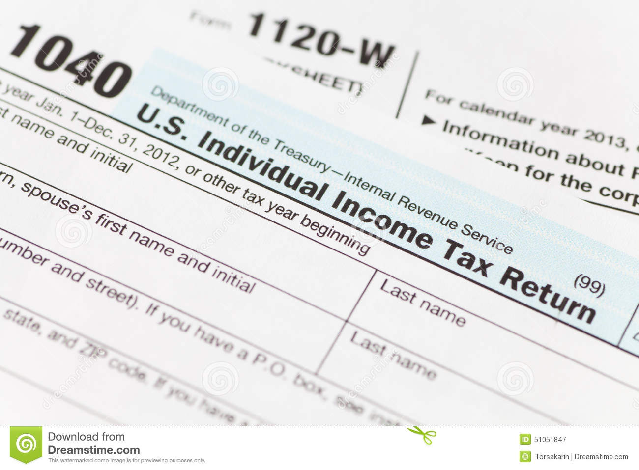 US Tax income form editorial photography. Image of american - 51051847