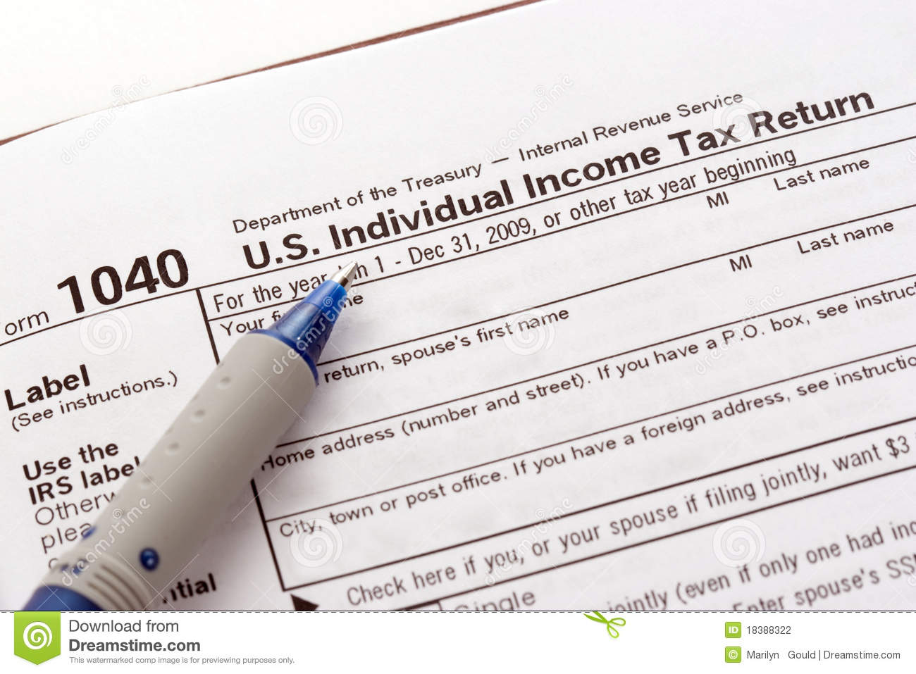 US Tax Return Form Stock Photography - Image: 18388322