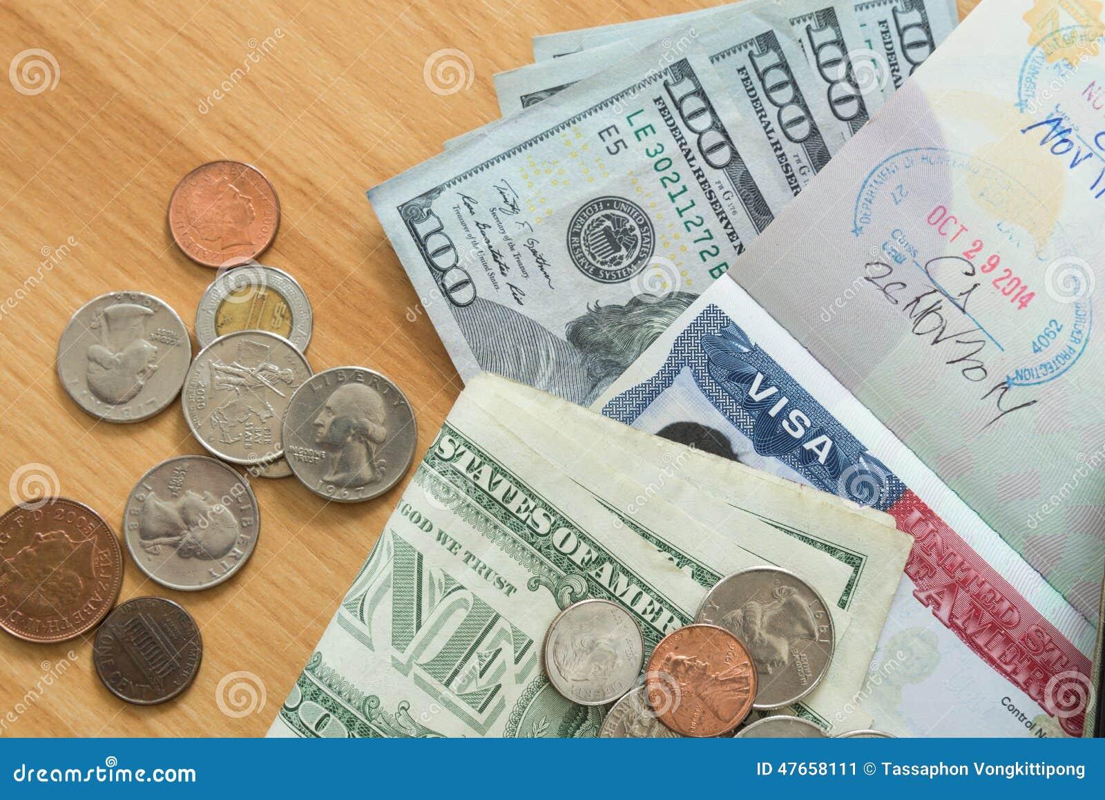 US Visa Passport Dollar Bills Coins Stock Image - Image of
