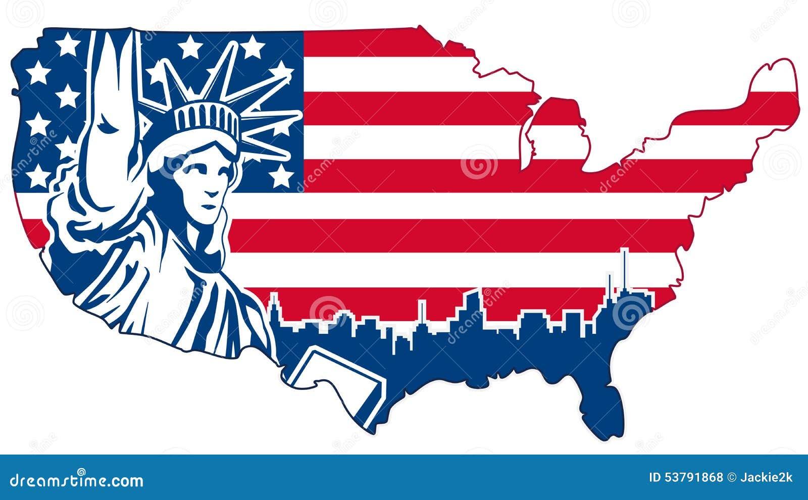 USA abstrakcjonistyczna mapa odizolowywająca na bielu