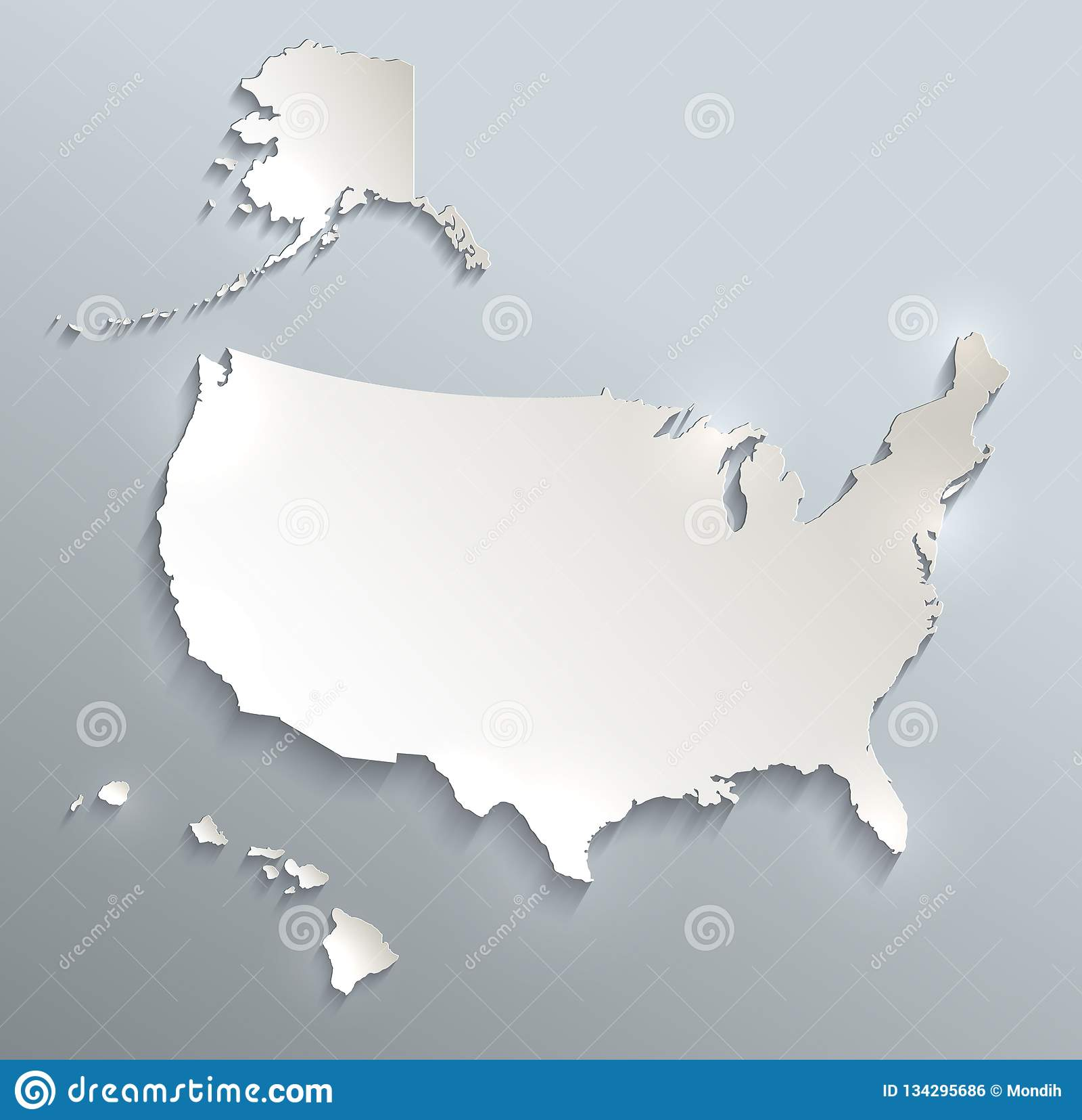 USA With Alaska And Hawaii Map Blank Blue White Card Paper 3D Blank ...