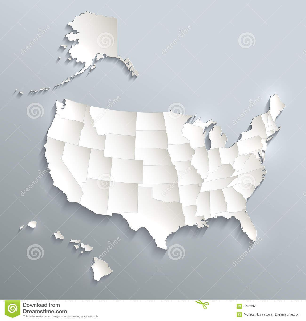 Political Map Of Alaska.Usa With Alaska And Hawaii Map Blue White Card Paper 3d Stock Vector