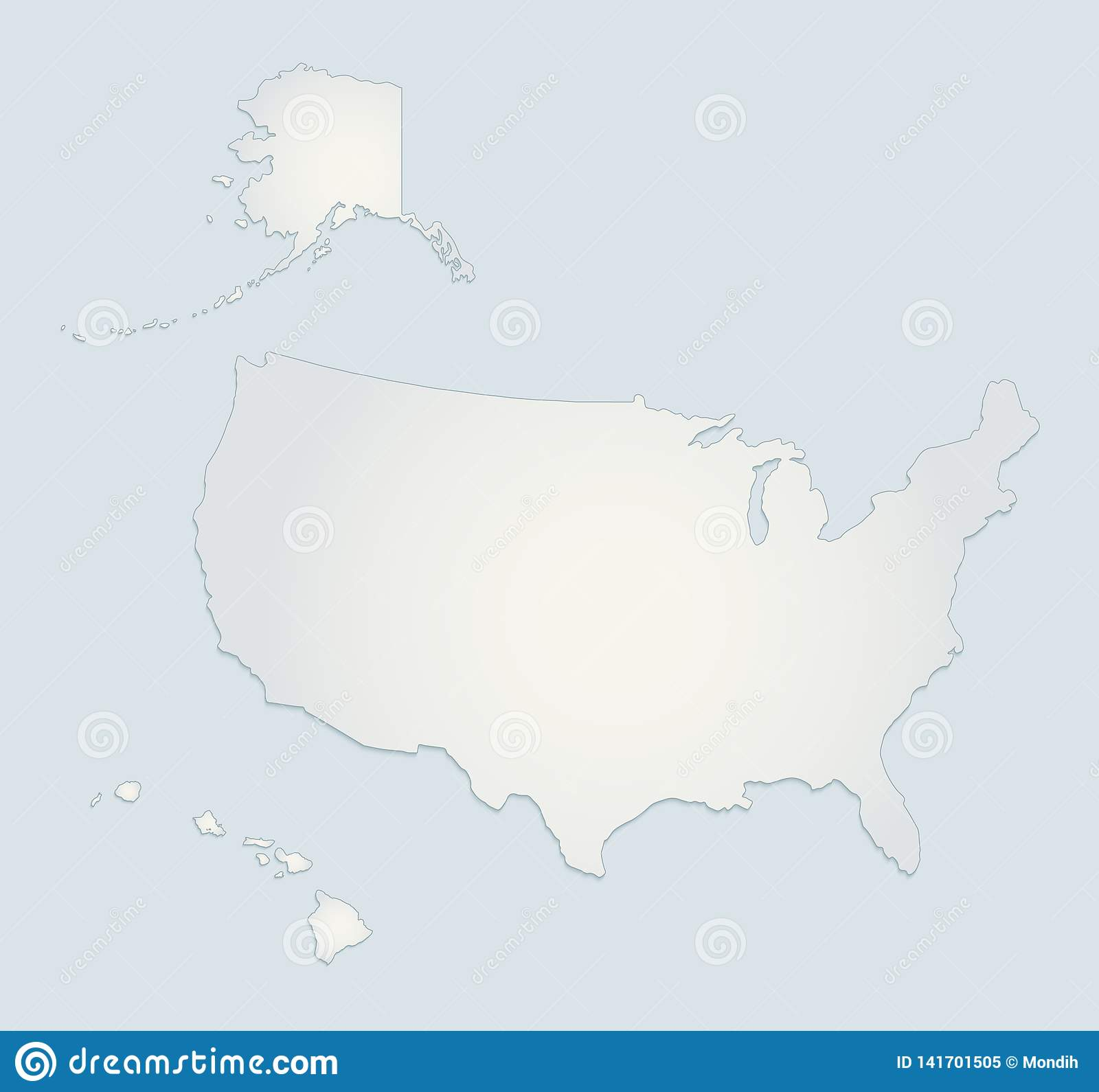 USA With Alaska And Hawaii Map Blue White Paper 3D Blank ...