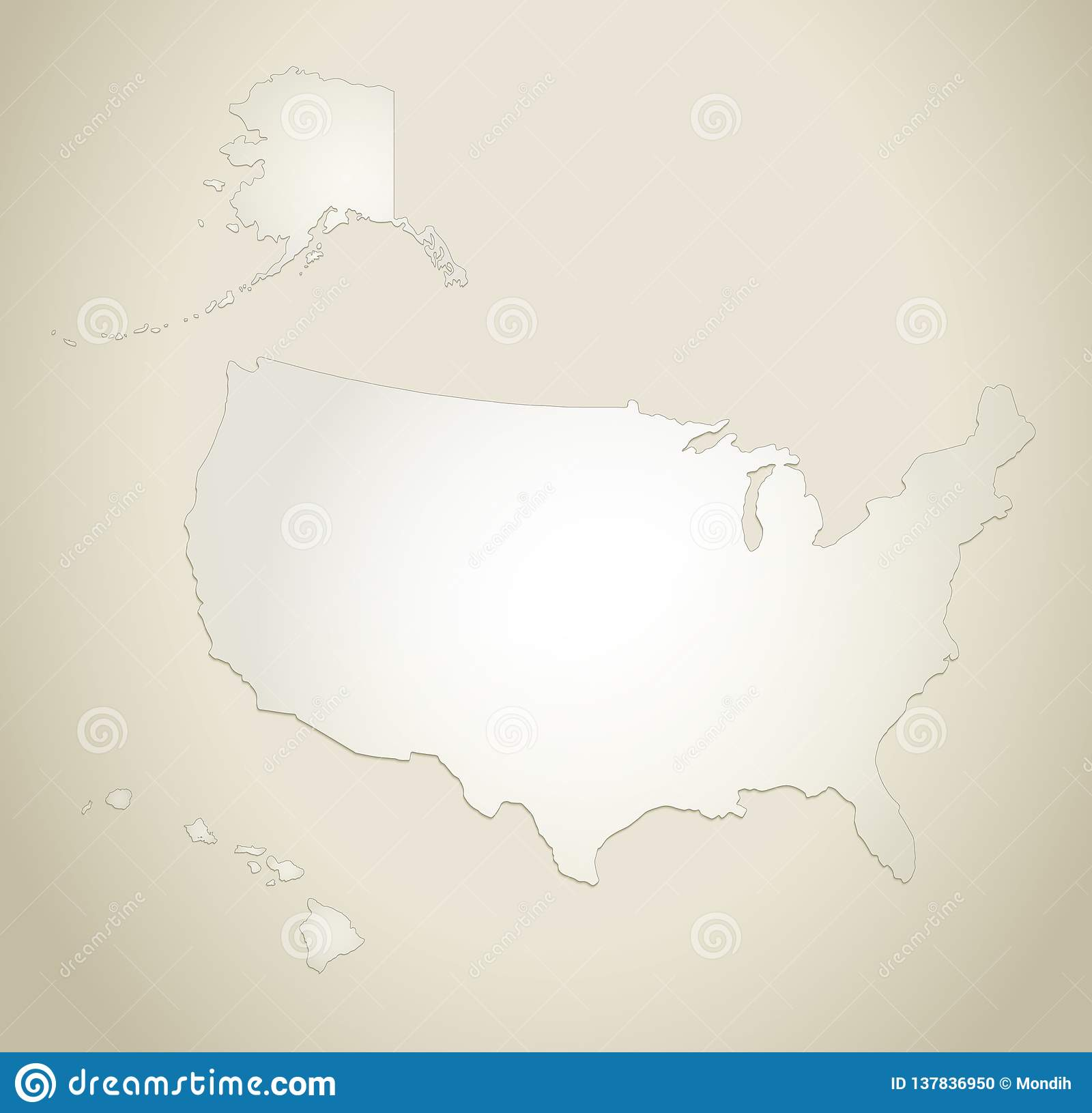 USA With Alaska And Hawaii Map Old Paper Background Blank ...